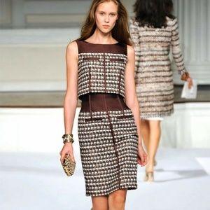 OSCAR DE LA RENTA SILK+CHECK TWEED RUNWAY Dress